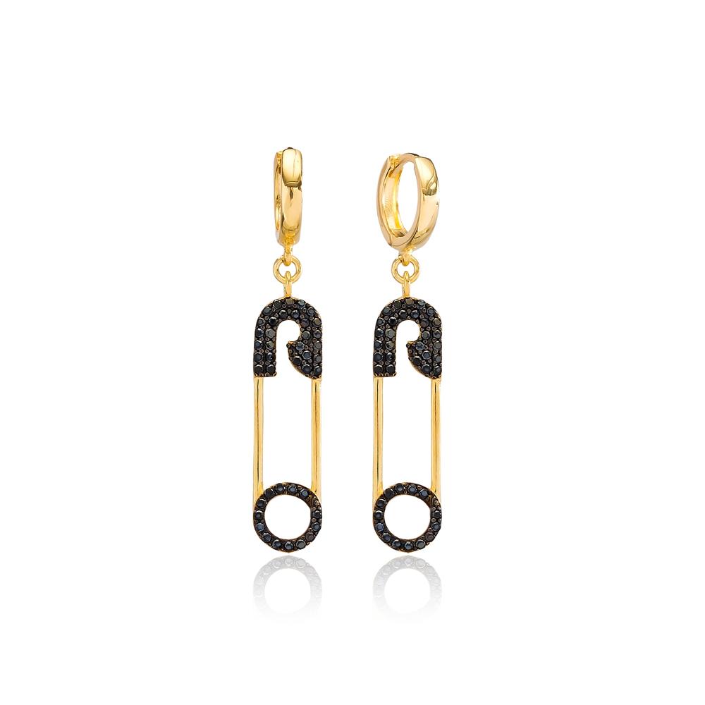 Trendy Safety Pin Black Zircon Dangle Earrings Wholesale Turkish Handmade 925 Sterling Silver Jewelry