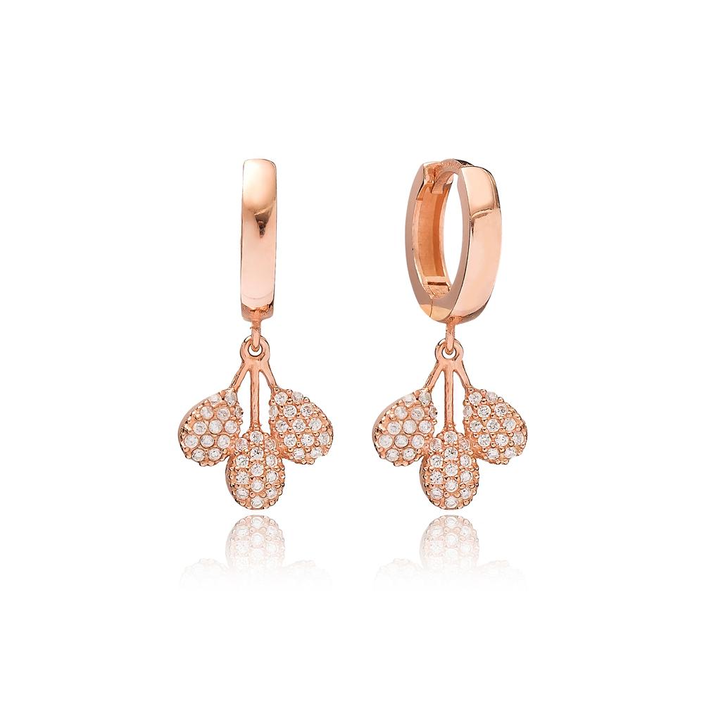 Dainty Zircon Dangle Earring Turkish Wholesale Handmade 925 Sterling Silver Jewelry