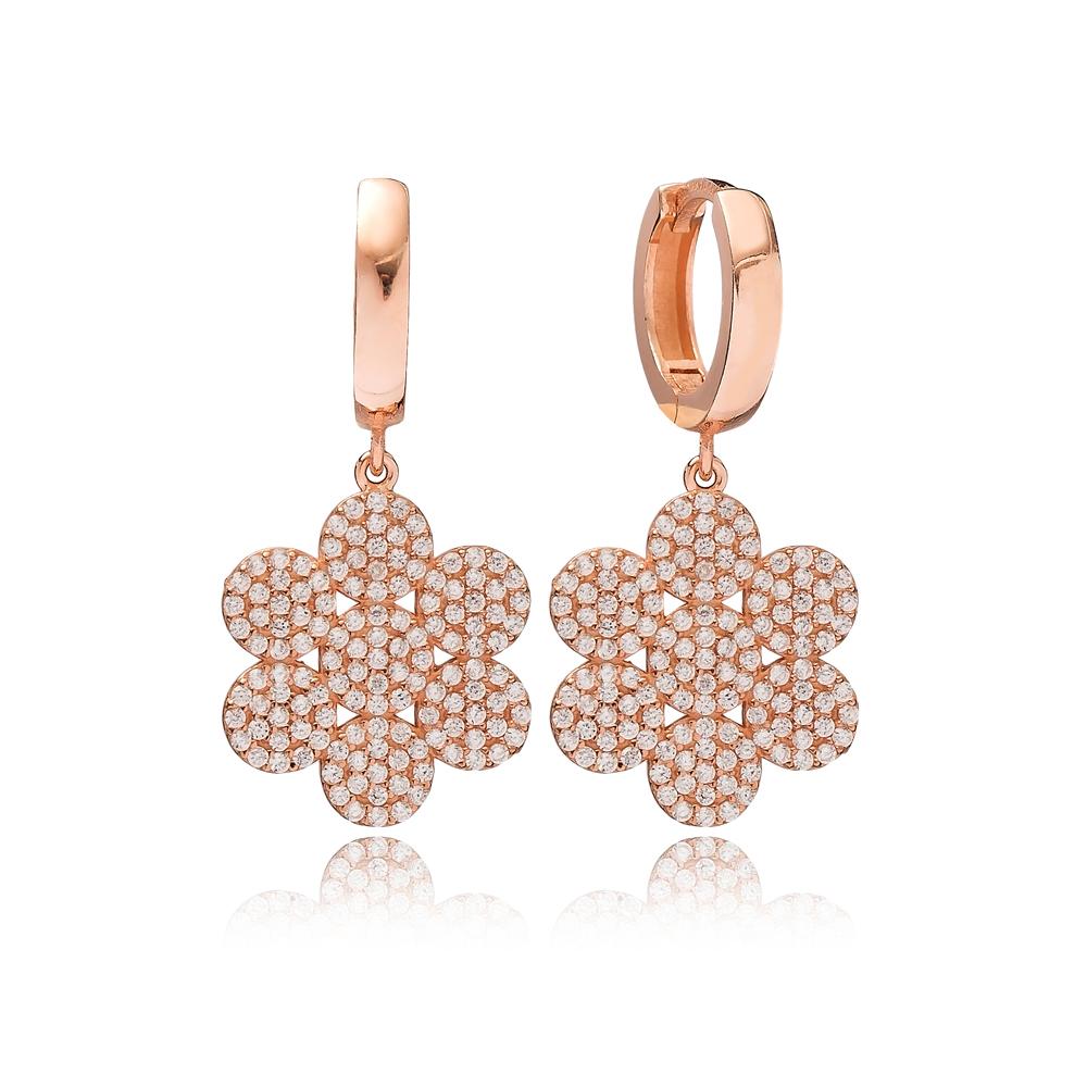 Flower Design Zircon Dangle Earring Turkish Wholesale Handmade 925 Sterling Silver Jewelry
