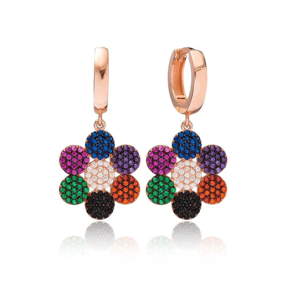 Flower Design Rainbow Dangle Earring Turkish Wholesale Handmade 925 Sterling Silver Jewelry