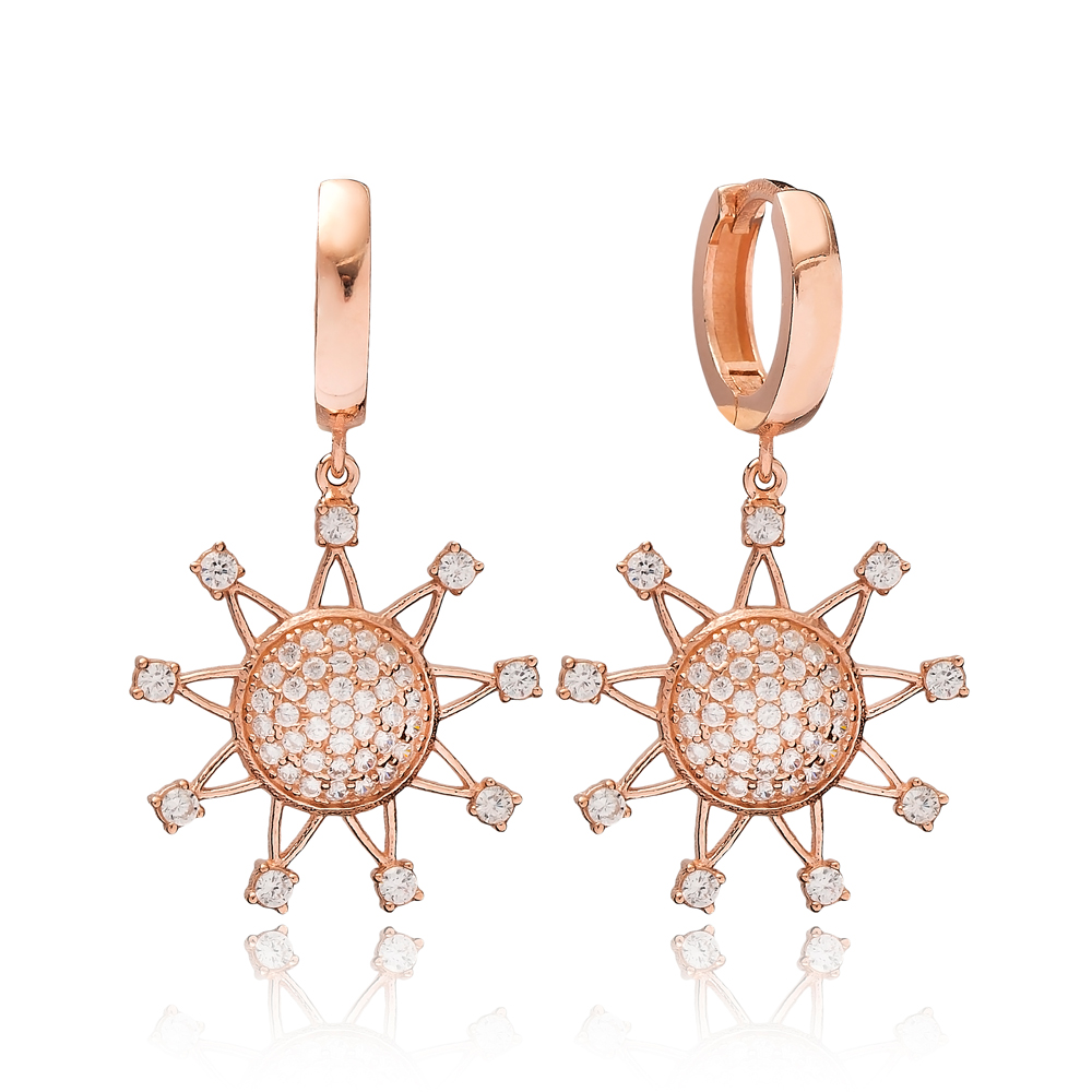 Sun Shape Zircon Dangle Earring Turkish Wholesale Handmade 925 Sterling Silver Jewelry