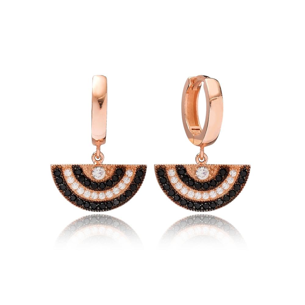 Half Sun Design Black Zircon Dangle Earring Turkish Wholesale Handmade 925 Sterling Silver Jewelry