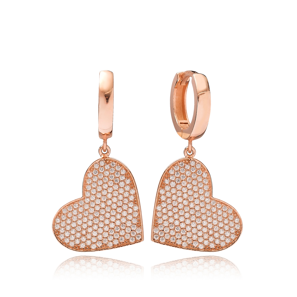 Heart Design Zircon Dangle Earring Turkish Wholesale Handmade 925 Sterling Silver Jewelry