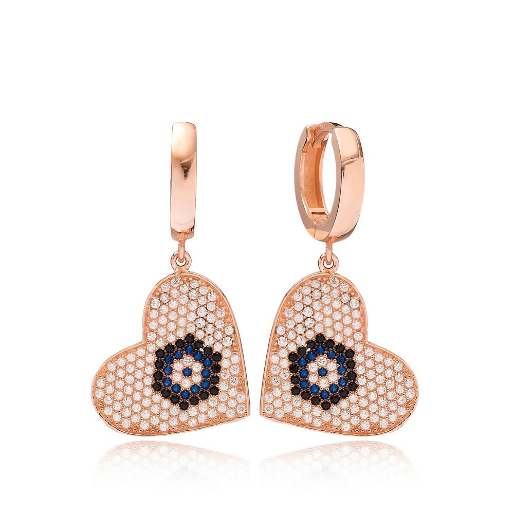 Heart Design Evil Eye Dangle Earring Turkish Wholesale Handmade 925 Sterling Silver Jewelry