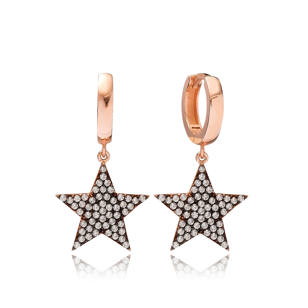 Star Design Zircon Dangle Earring Turkish Wholesale Handmade 925 Sterling Silver Jewelry