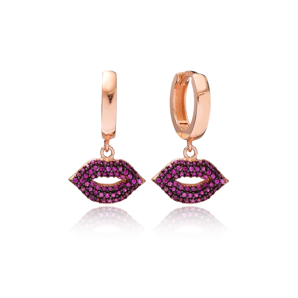 Lip Design Ruby Dangle Earring Turkish Wholesale Handmade 925 Sterling Silver Jewelry