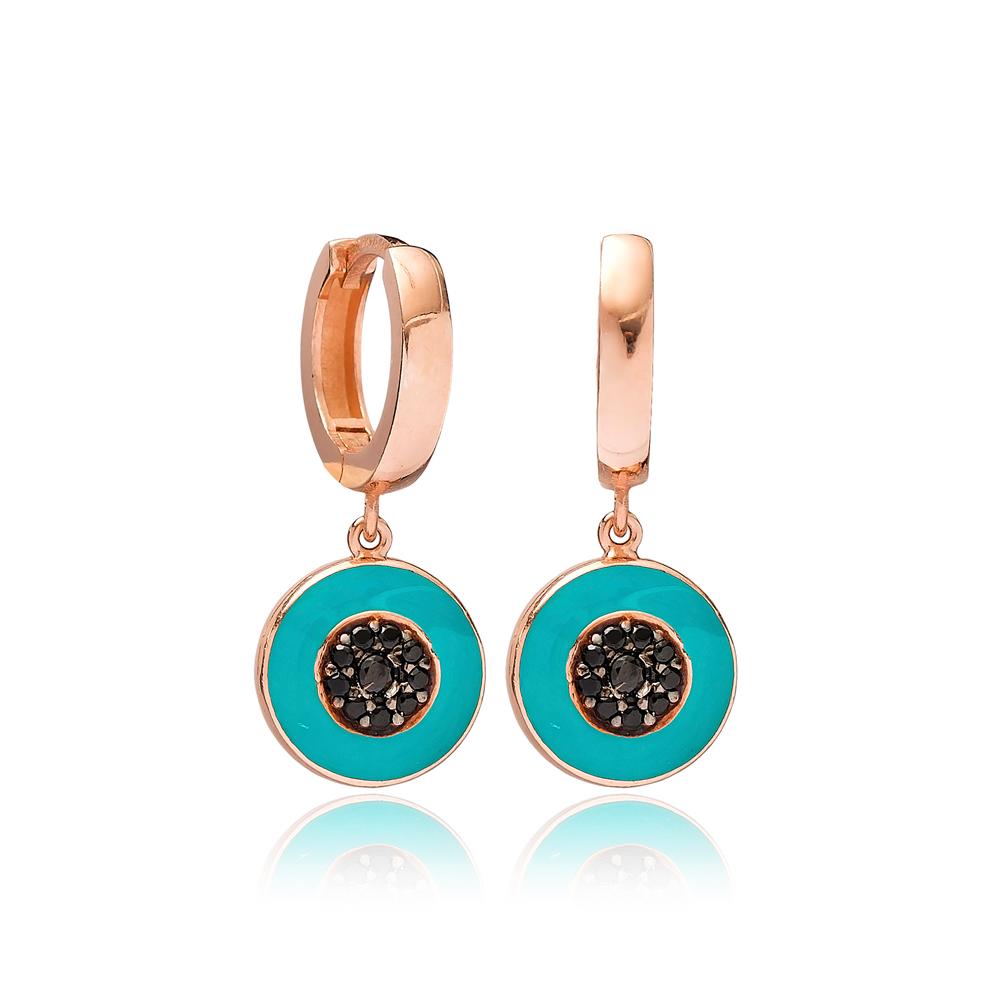 Round Black Zircon Blue Enamel Dangle Earring Turkish Wholesale Handmade 925 Sterling Silver Jewelry