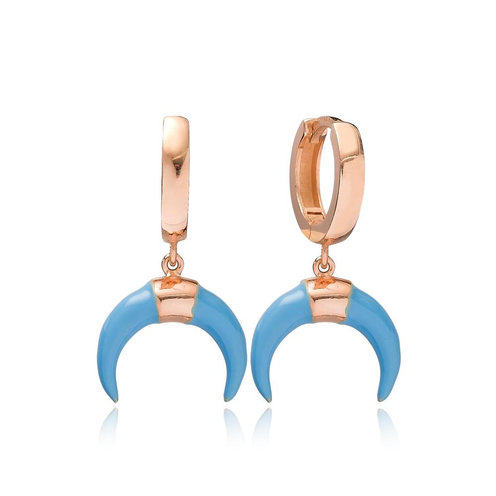 Horn Design Blue Enamel Dangle Earring Turkish Wholesale Handmade 925 Sterling Silver Jewelry
