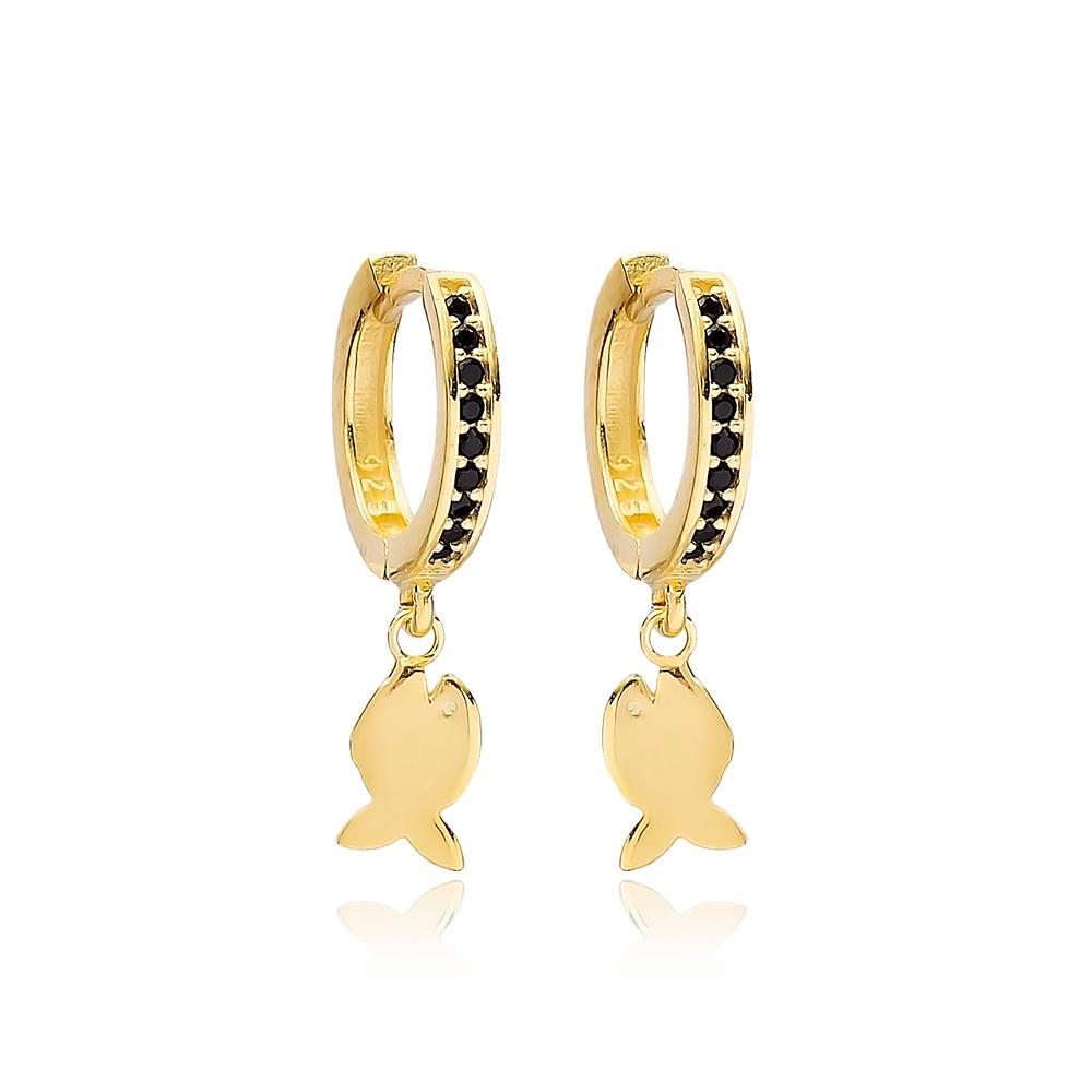 Fish Charm Black Zircon Stone Dangle Earring Turkish Wholesale Handmade 925 Sterling Silver Jewelry