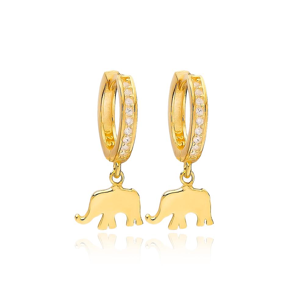 Elephant Charm Zircon Stone Dangle Earring Turkish Wholesale Handmade 925 Sterling Silver Jewelry