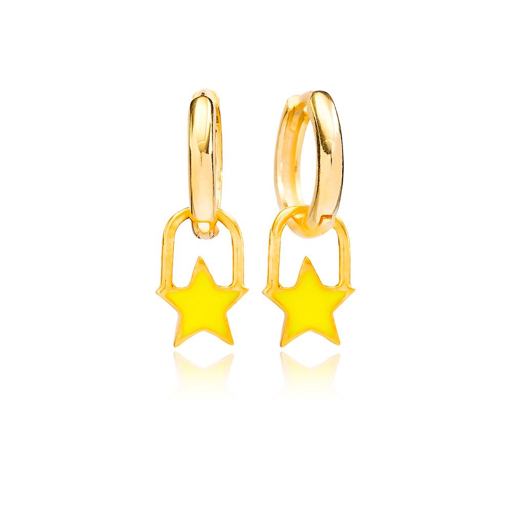 Yellow Enamel Star Charm Dangle Earring Turkish Wholesale Handmade 925 Sterling Silver Jewelry
