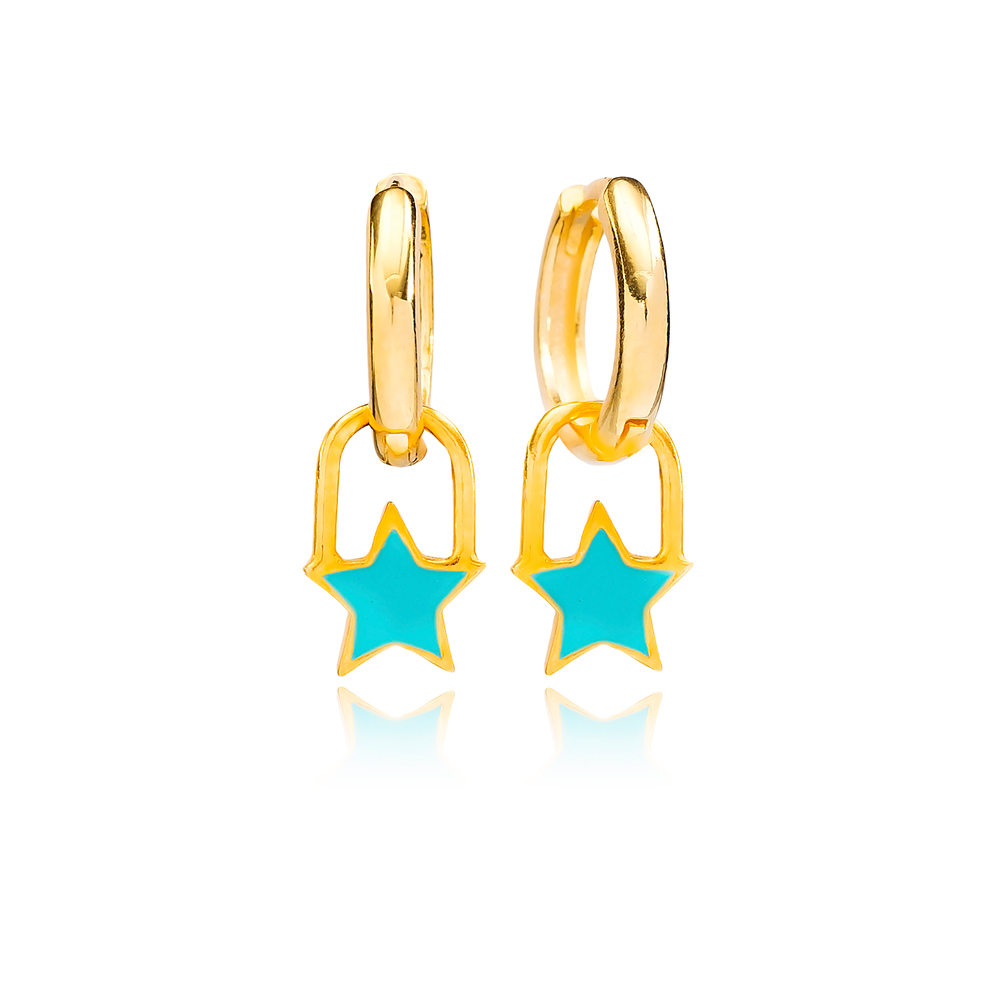 Turquoise Enamel Star Charm Dangle Earring Turkish Wholesale Handmade 925 Sterling Silver Jewelry