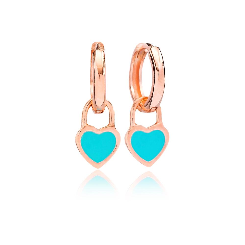 Turquoise Enamel Heart Charm Dangle Earring Turkish Wholesale Handmade 925 Sterling Silver Jewelry
