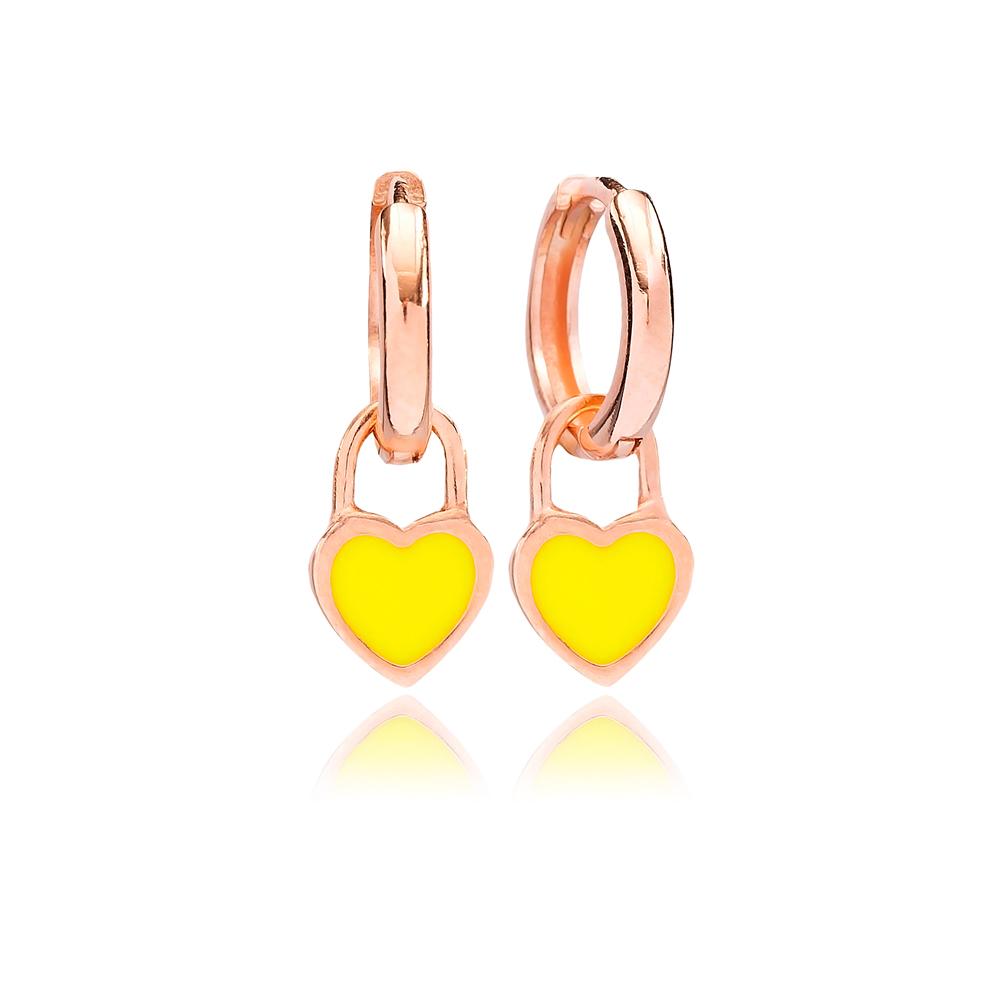 Neon Yellow Enamel Heart Charm Dangle Earring Turkish Wholesale Handmade 925 Sterling Silver Jewelry