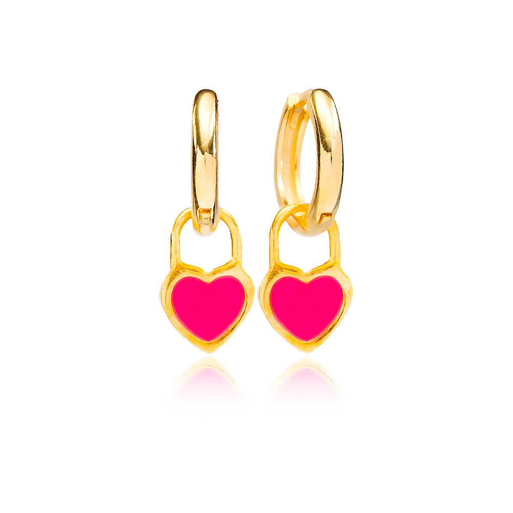 Magenta Enamel Heart Charm Dangle Earring Turkish Wholesale Handmade 925 Sterling Silver Jewelry