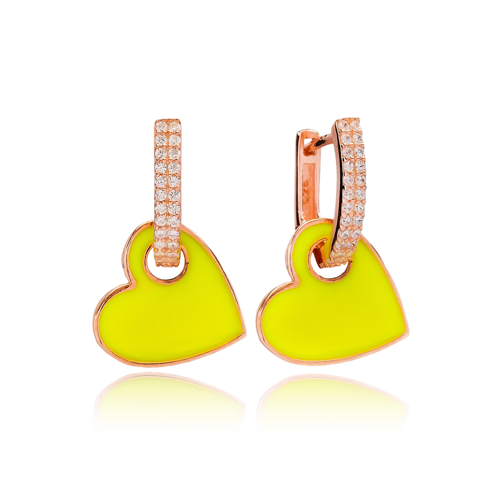 Yellow Enamel Heart Charm Dangle Earring Turkish Wholesale Handmade 925 Sterling Silver Jewelry
