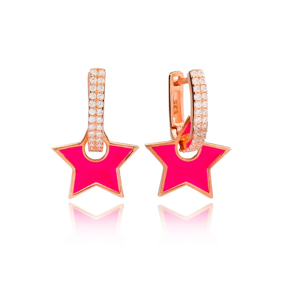 Magenta Enamel Star Charm Dangle Earring Turkish Wholesale Handmade 925 Sterling Silver Jewelry