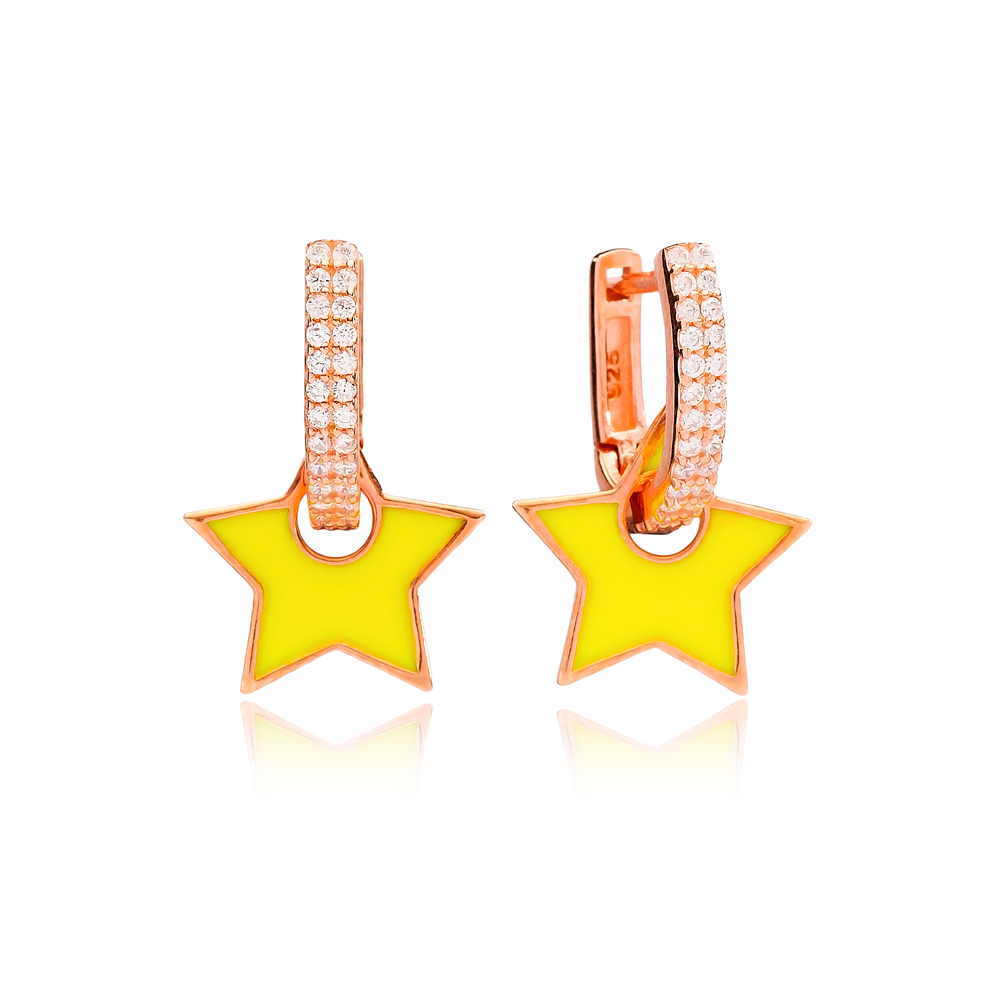 Yellow Enamel Star Charm Dangle Earring Turkish Wholesale Handmade 925 Sterling Silver Jewelry