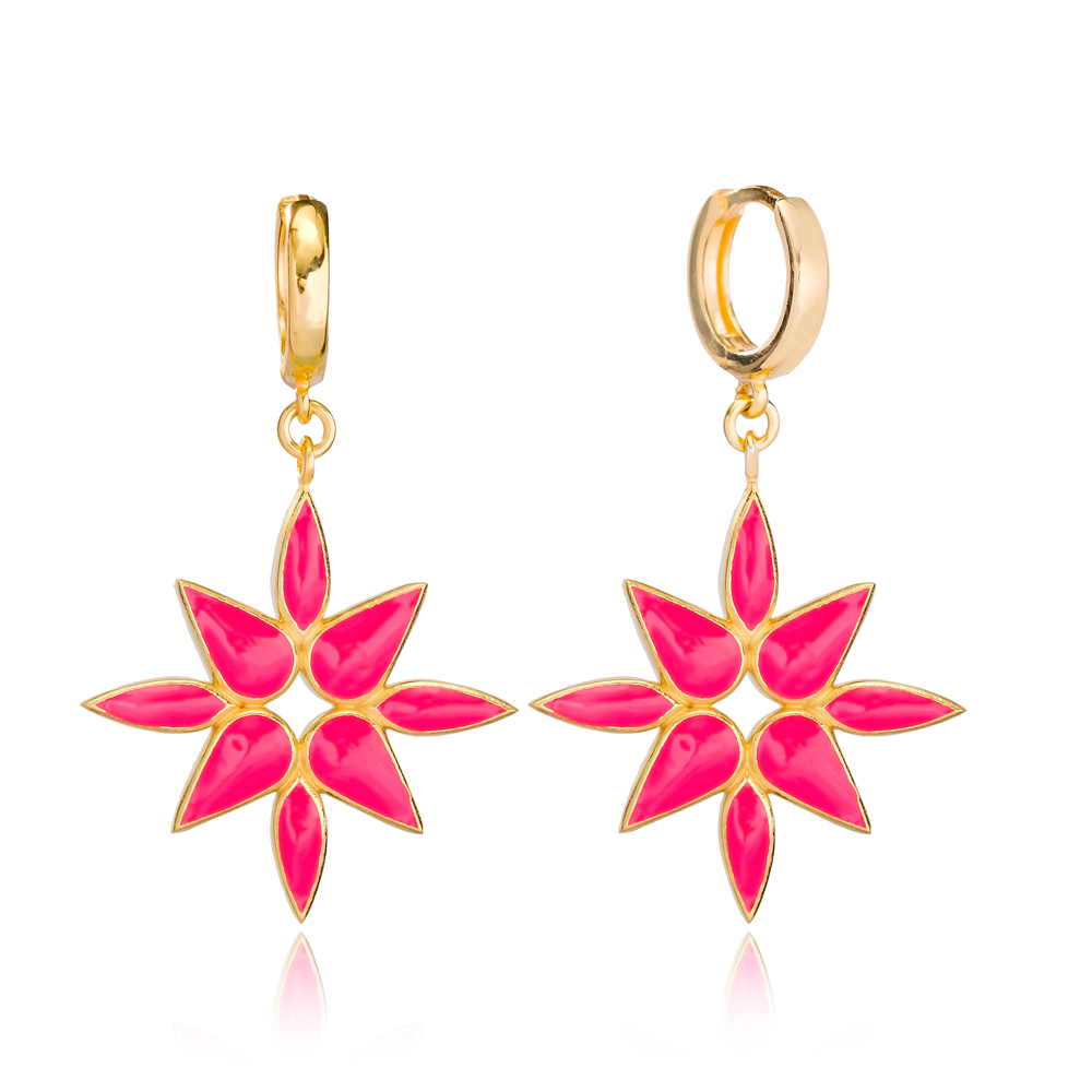 Magento Pink Enamel Dangle Earring Turkish Wholesale Handmade 925 Sterling Silver Jewelry