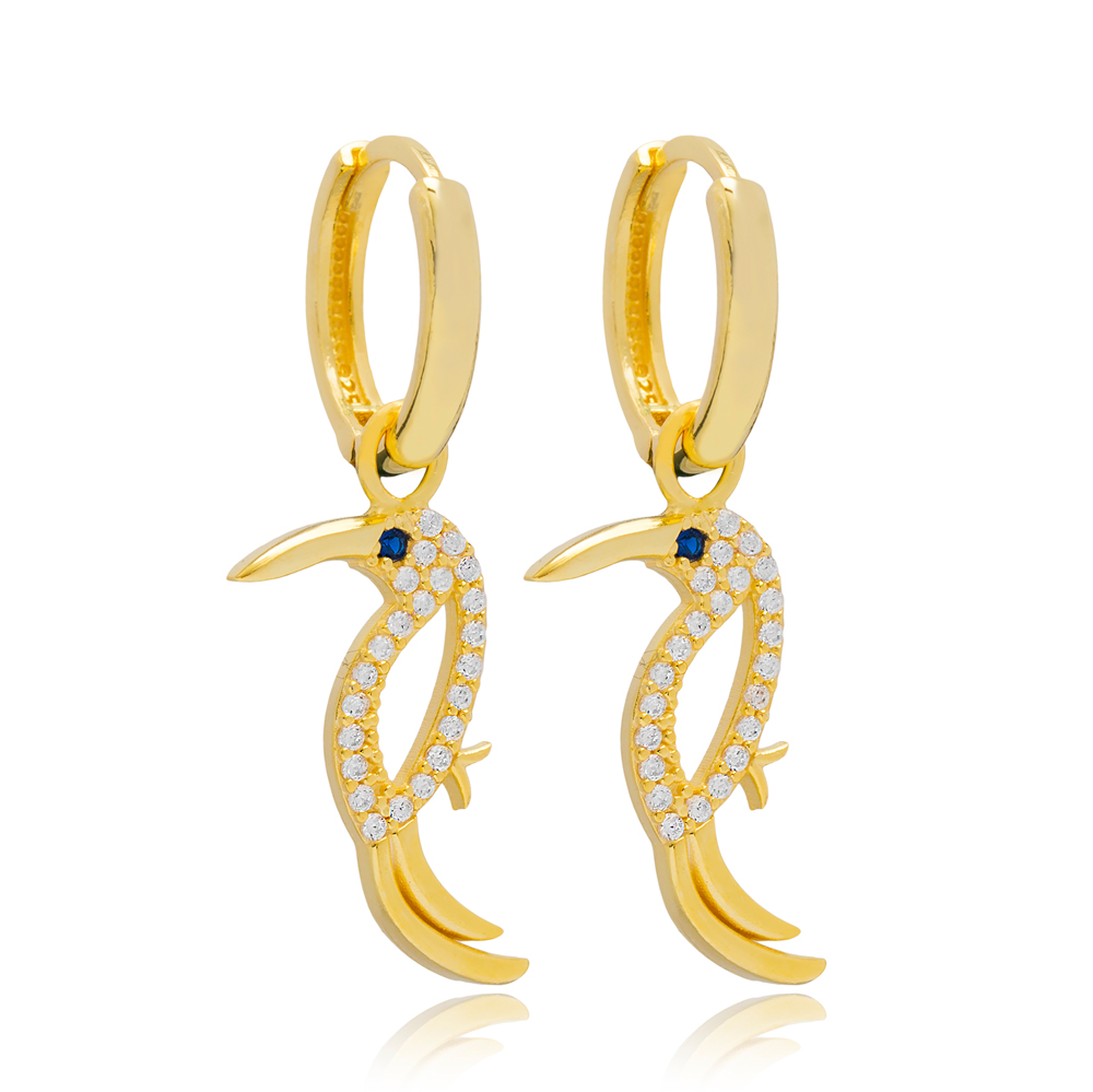 Parrot Design Earring Turkish Wholesale Handmade 925 Sterling Silver Jewelry