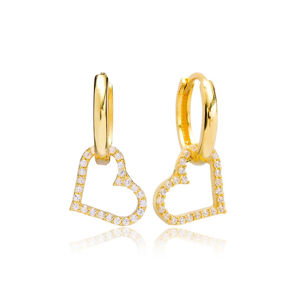 Heart Charm Earring Turkish Wholesale Handmade 925 Sterling Silver Jewelry