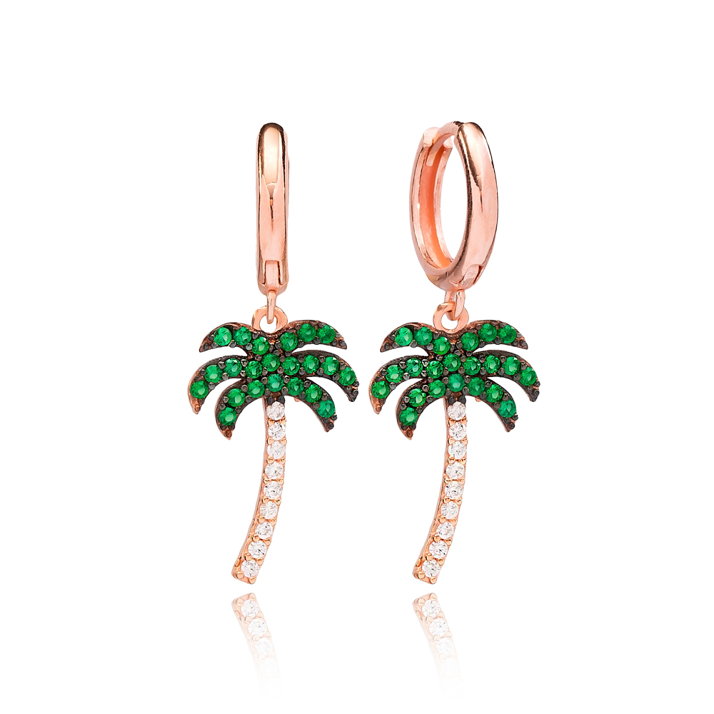 Palm Tree Dangle Earring Turkish Wholesale Handmade 925 Sterling Silver Jewelry