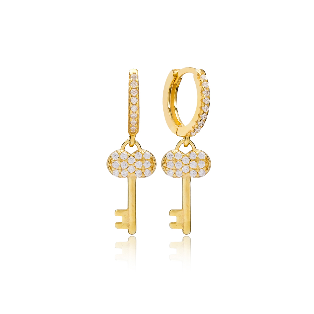 Minimalist Key Earring Turkish Wholesale Handmade 925 Sterling Silver Jewelry
