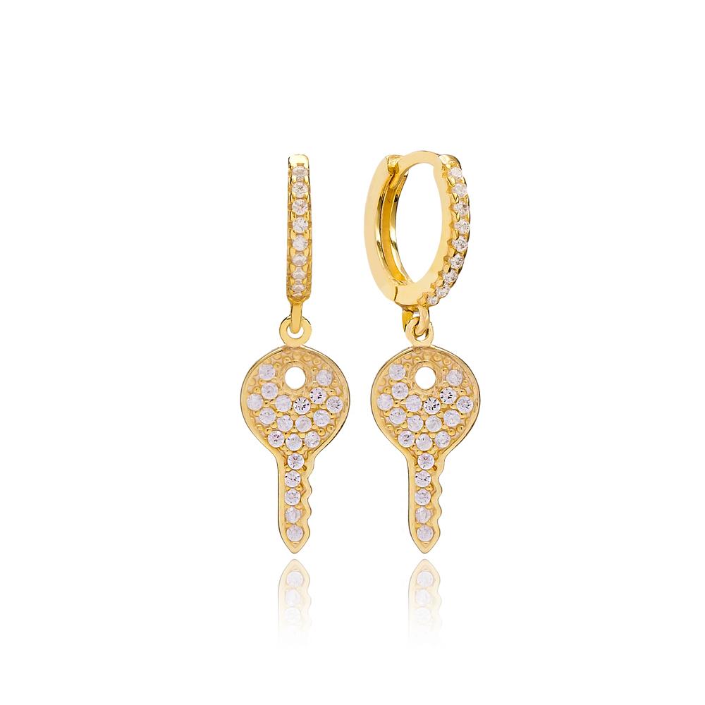 Minimalist Key Earring Turkish Wholesale Handmade 925 Sterling Silver Jewelry