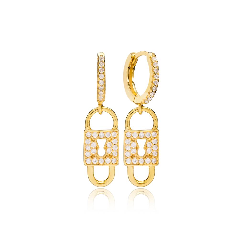 Minimalist Lock Shape Earring Turkish Wholesale Handmade 925 Sterling Silver Jewelry