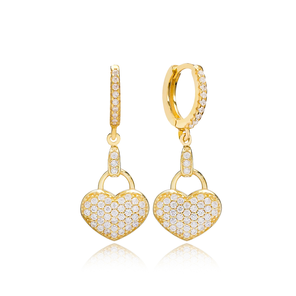 Minimalist Heart Shape Earring Turkish Wholesale Handmade 925 Sterling Silver Jewelry