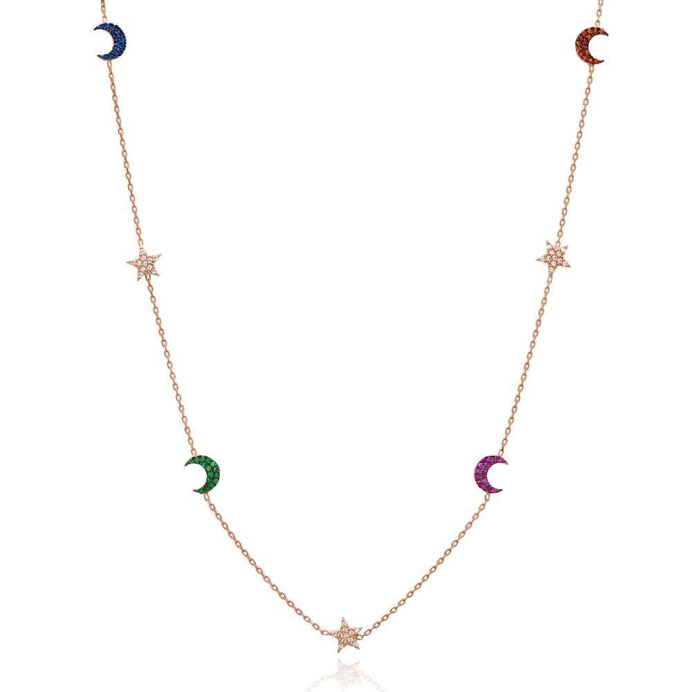 Mix Stone Star and Moon Design Turkish Wholesale Handcrafted 925 Silver Necklace