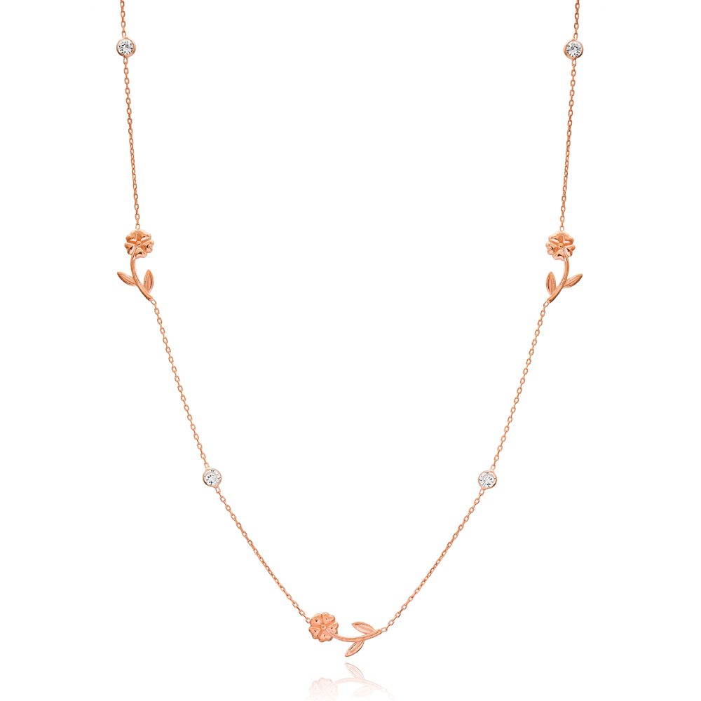 Rose Design Design Turkish Wholesale Handcrafted 925 Silver Necklace