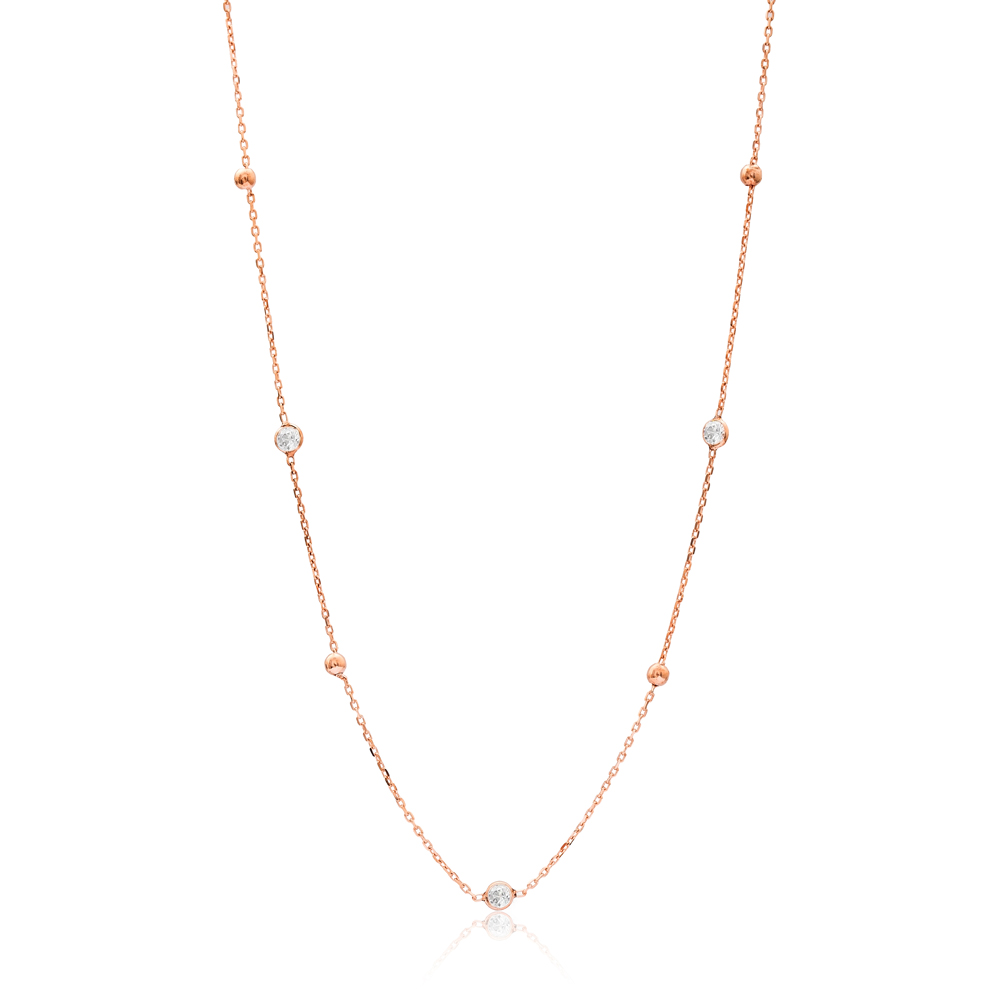 Rose Gold Plated Zircon Wholesale Handcrafted 925 Silver Necklace