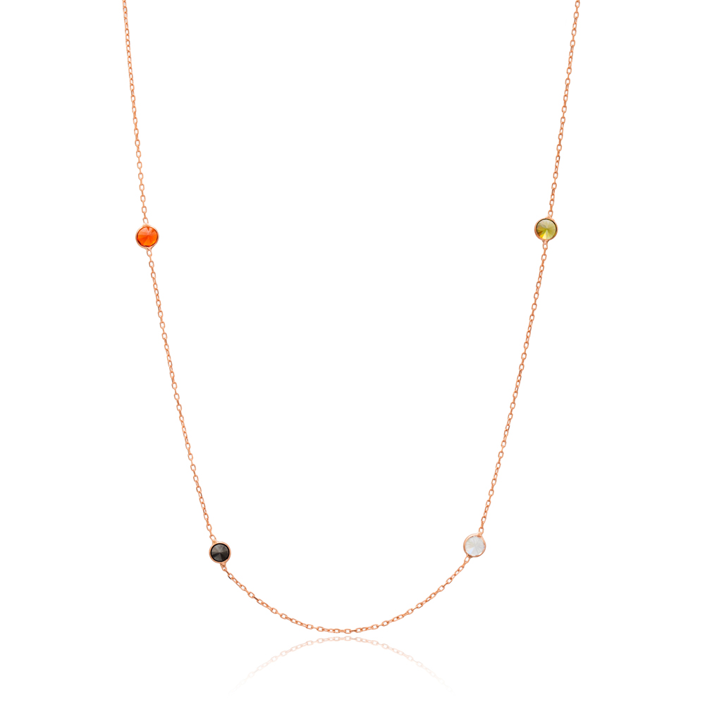 Mix Stone Trendy Long Necklace Wholesale 925 Sterling Silver Pendant