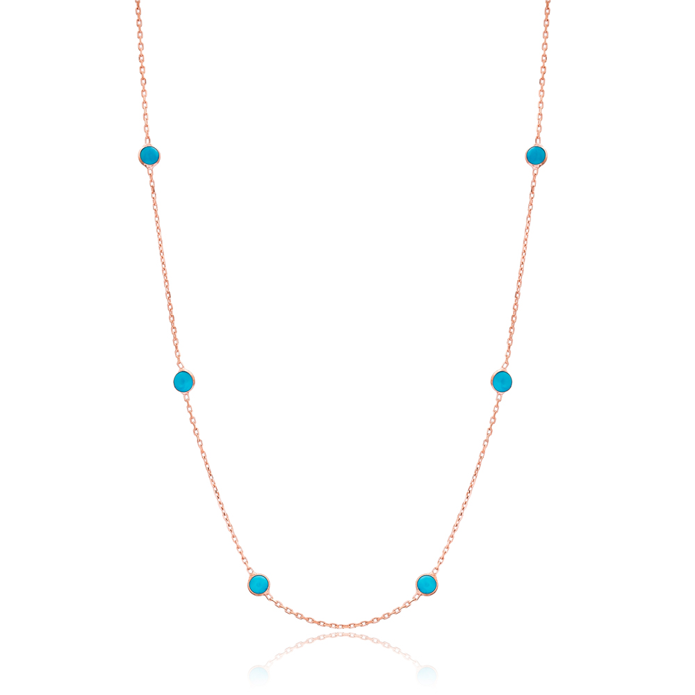 Women New Arrival Turquoise Wholesale 925 Sterling Silver Necklace