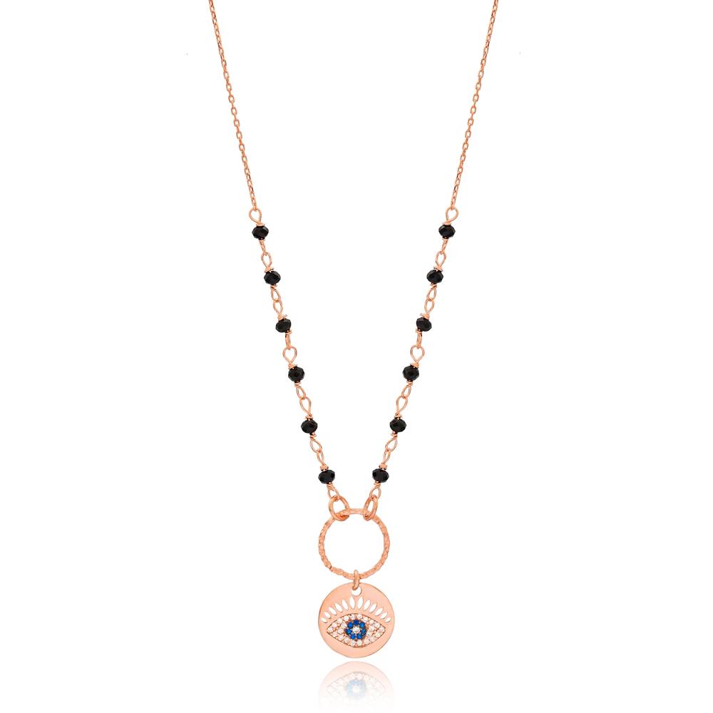 Onyx Stone Evil Eye Charm Necklace Turkish Wholesale Handmade 925 Silver Sterling Jewelry