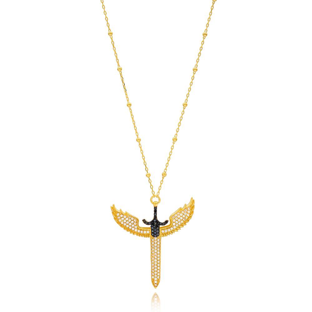 Black Zircon Angel Sword Charm Turkish Wholesale 925 Sterling Silver Jewelry