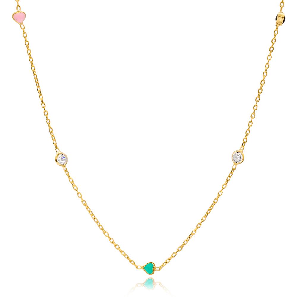 Minimalist Colorful Enamel Heart Charm Zircon Stone Long Necklace Turkish Handmade Wholesale 925 Sterling Silver Jewelry
