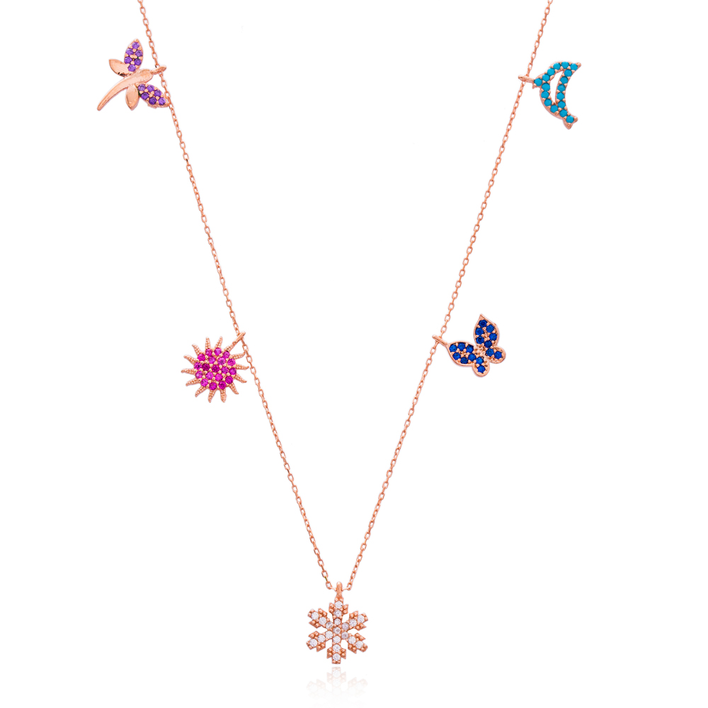 Butterfly And Dragonfly Design Silver Necklace Wholesale Sterling Silver Jewelry