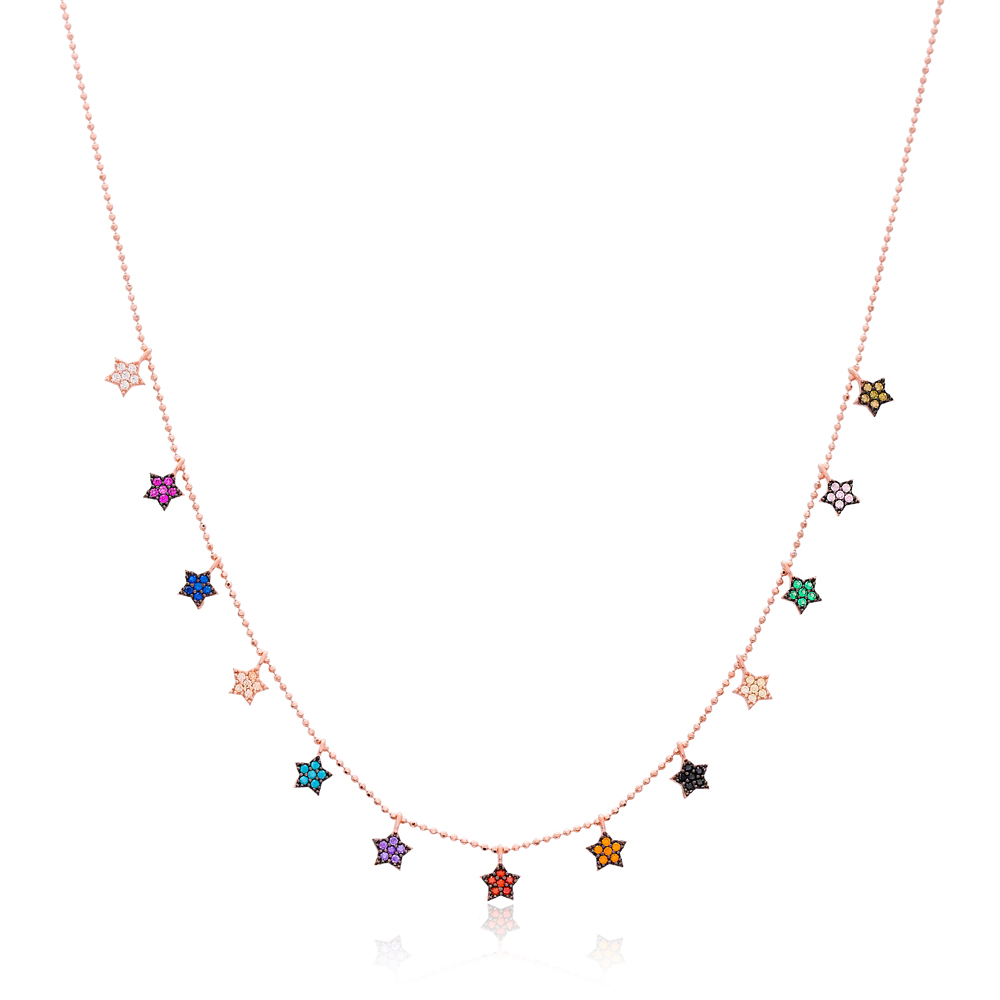 Star Design Turkish Wholesale Handcrafted 925 Silver Necklace