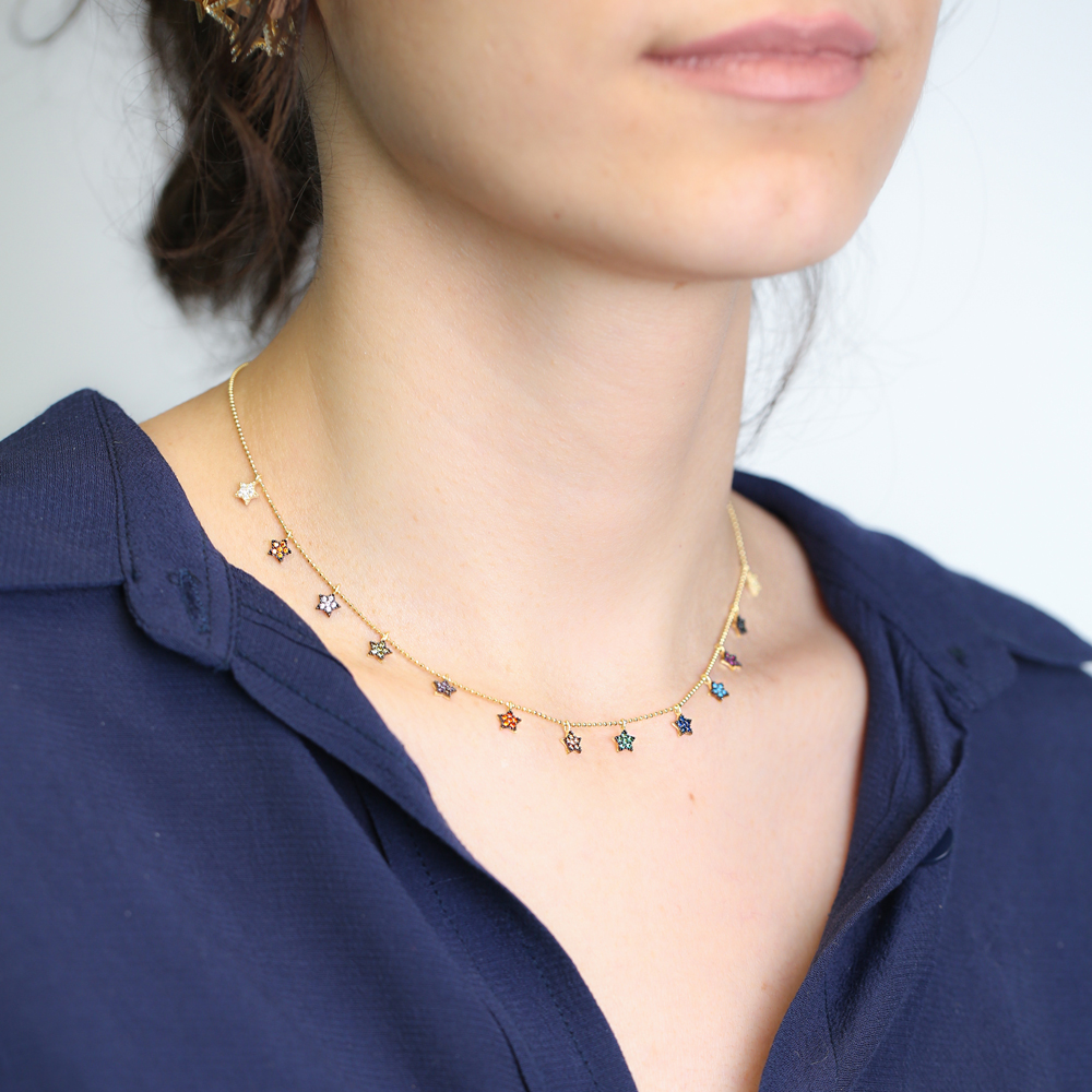 Star Design Shaker Turkish Wholesale Handcrafted 925 Silver Necklace