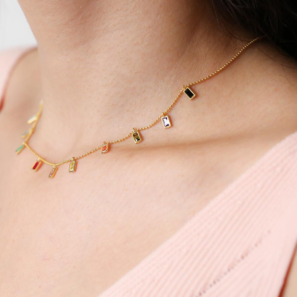Minimalist Baguette Colorful Design Turkish Wholesale 925 Silver Necklace