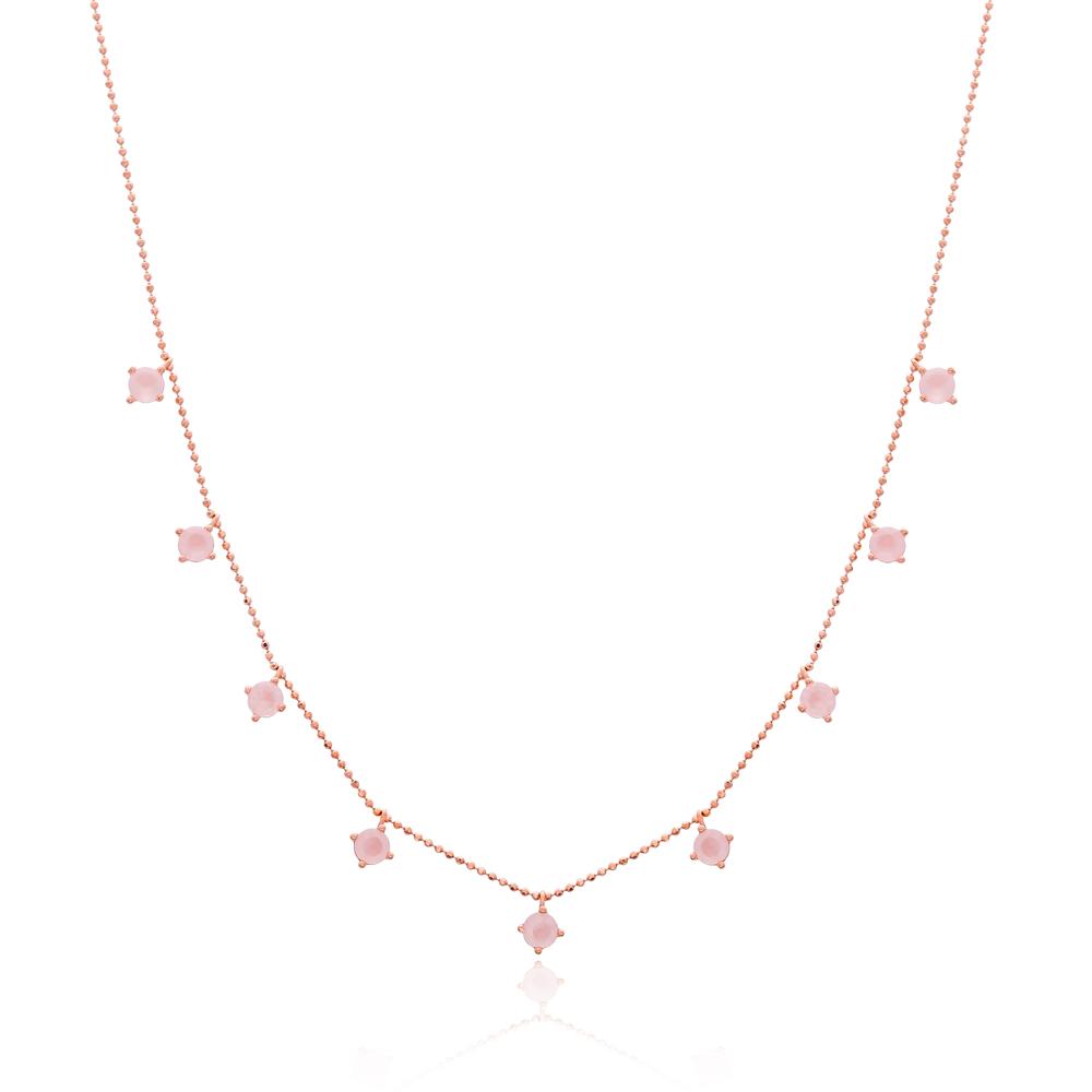Minimalist Rounded Quartz Design Turkish Wholesale Handcrafted 925 Silver Necklace