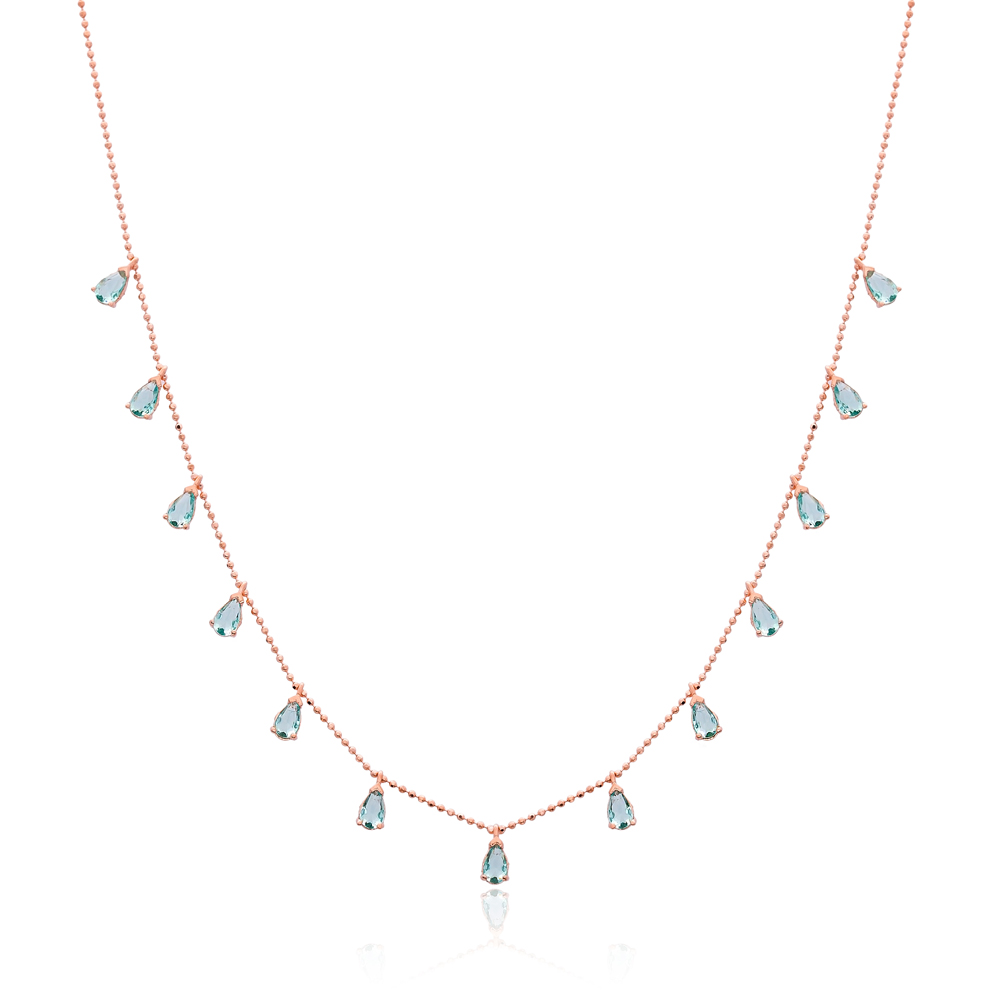 Minimalist Aquamarine Stone Design Turkish Wholesale Handcrafted 925 Silver Necklace