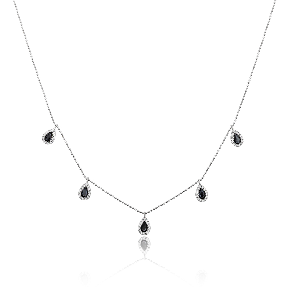 Dainty Shaker Teardrop Design Turkish Wholesale Handcrafted 925 Silver Necklace