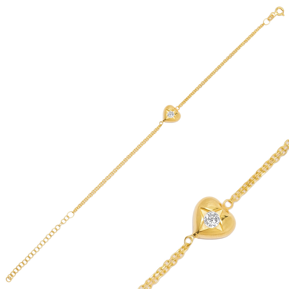 Star in Heart Charm Bracelet Turkish Handmade Wholesale 925 Sterling Silver Jewelry