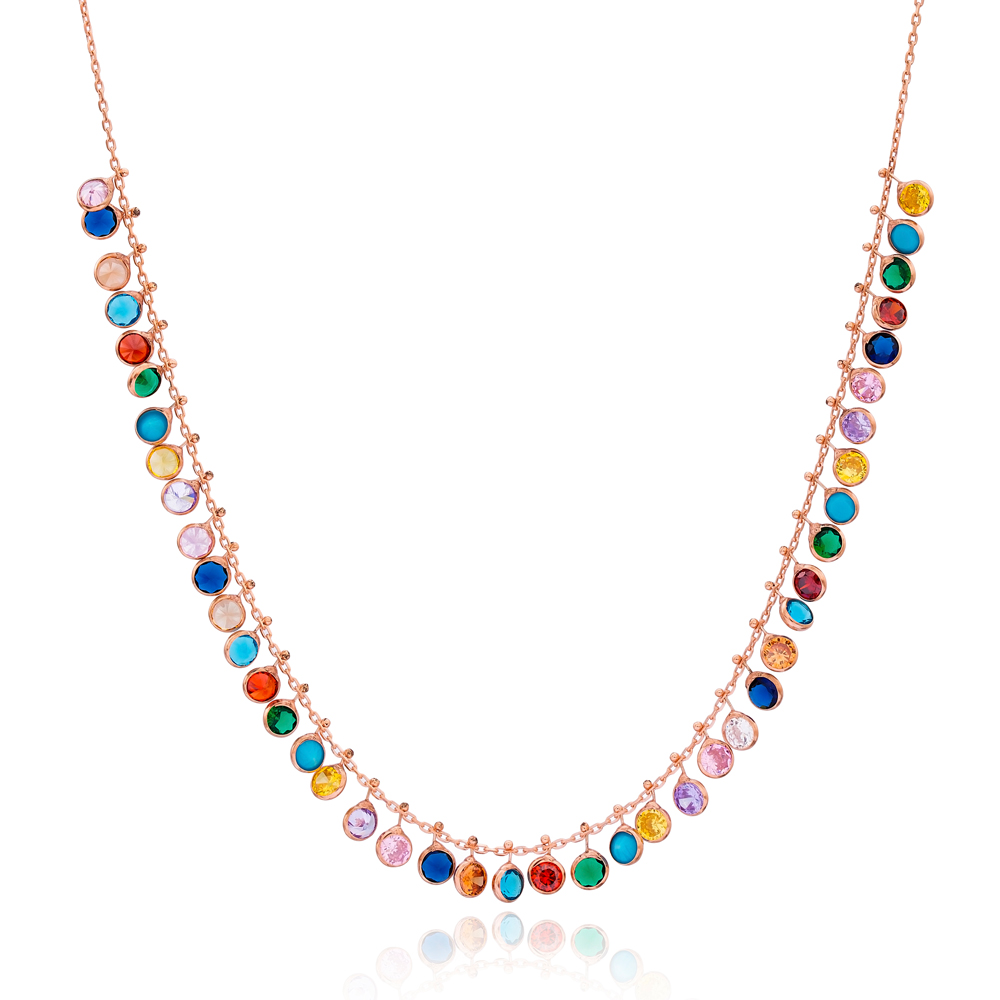 Dainty Shaker Colorful Stone Design Wholesale Handcrafted 925 Silver Necklace