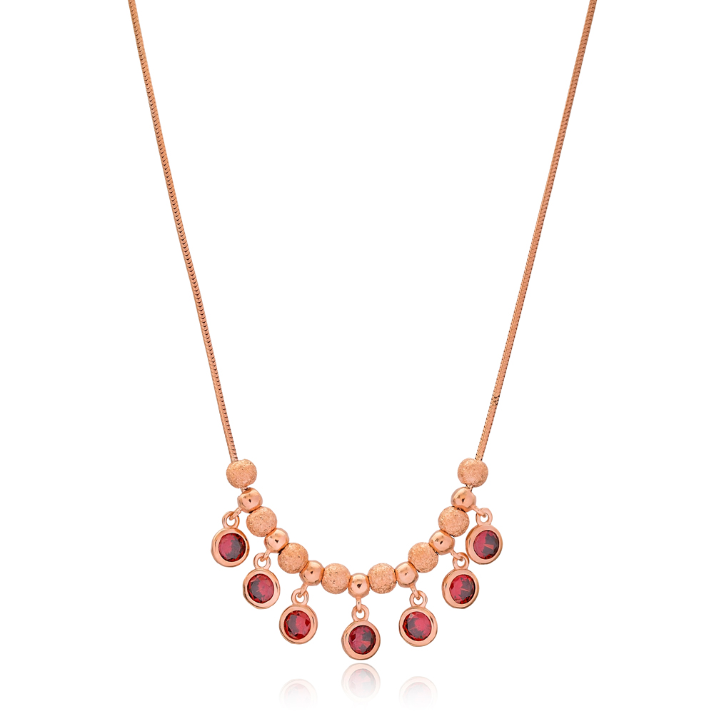 Dainty Garnet Stone Design Turkish Wholesale Handcrafted 925 Silver Sterling Necklace