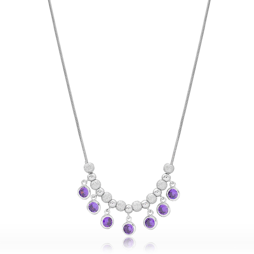 Elegant Amethyst Stone Design Turkish Wholesale Handcrafted 925 Silver Sterling Necklace
