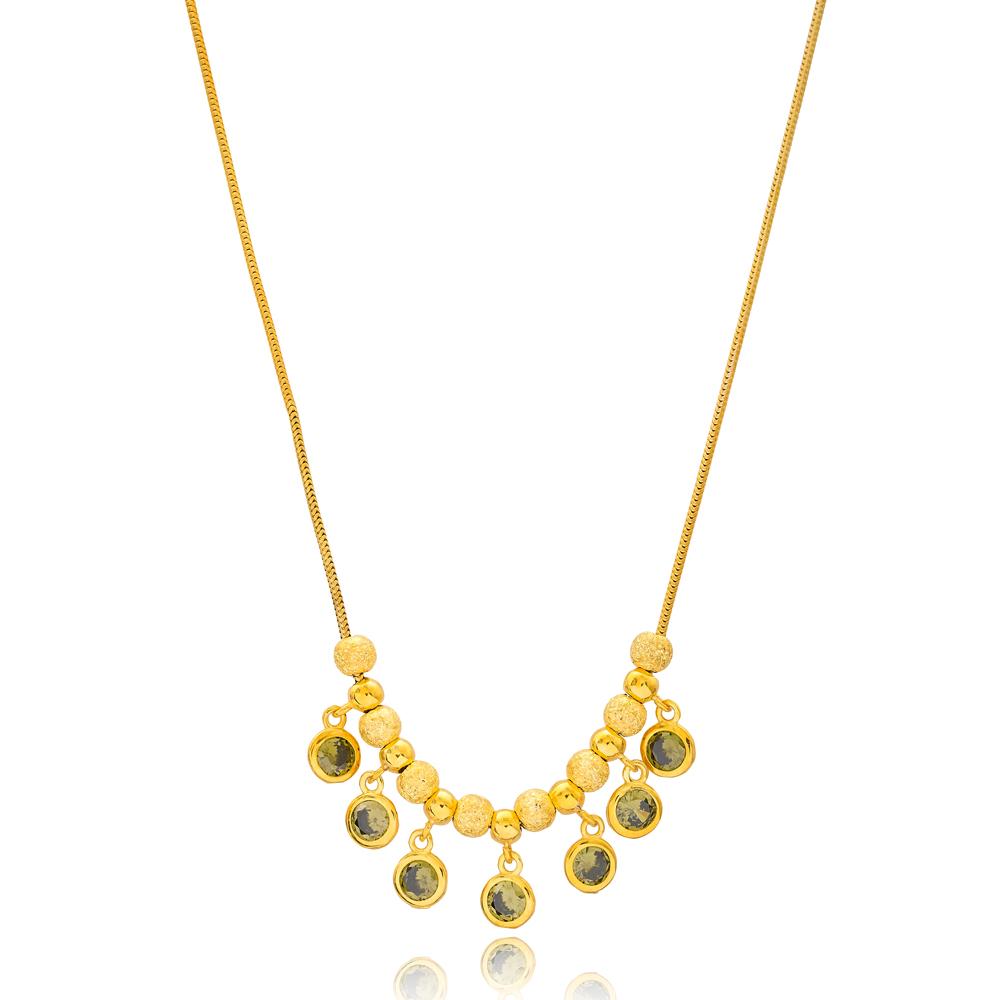 Elegant Citrine Stone Design Turkish Wholesale Handcrafted 925 Silver Sterling Necklace